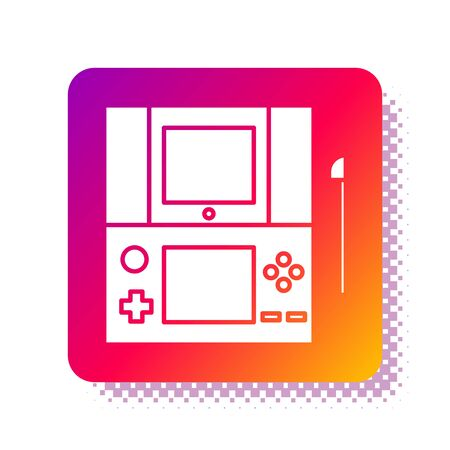 White Portable video game console icon isolated on white background. Gamepad sign. Gaming concept. Square color button. Vector Illustration 矢量图像