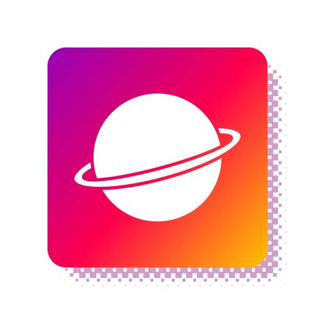 White Planet Saturn with planetary ring system icon isolated on white background. Square color button. Vector Illustration