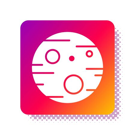 White Planet Mars icon isolated on white background. Square color button. Vector Illustration