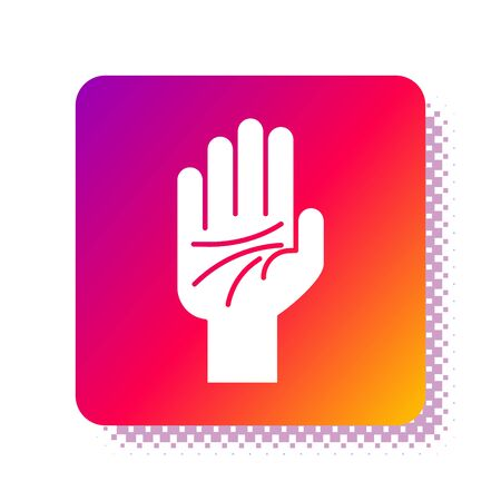 White Palmistry of the hand icon isolated on white background. Square color button. Vector Illustration