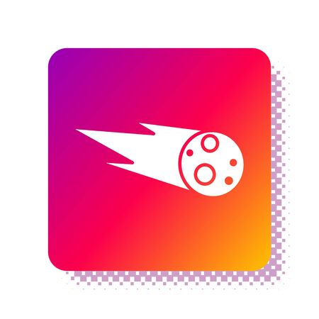 White Comet falling down fast icon isolated on white background. Square color button. Vector Illustration Çizim