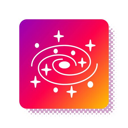 White Milky way spiral galaxy with stars icon isolated on white background. Square color button. Vector Illustration Çizim