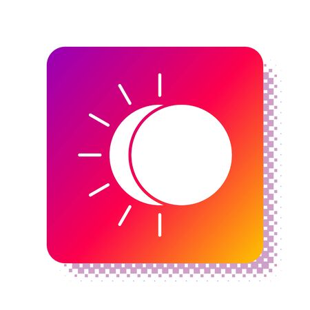 White Eclipse of the sun icon isolated on white background. Total sonar eclipse. Square color button. Vector Illustration