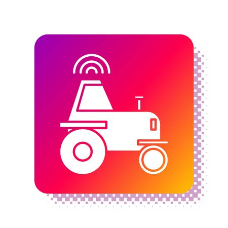 White Self driving wireless tractor on a smart farm icon isolated on white background. Smart agriculture implement element. Square color button. Vector Illustration Illustration