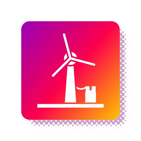 White Wind turbine icon isolated on white background. Wind generator sign. Windmill for electric power production. Square color button. Vector Illustration Çizim