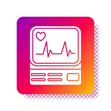 White Computer monitor with cardiogram icon isolated on white background. Monitoring icon. ECG monitor with heart beat hand drawn. Square color button. Vector Illustration