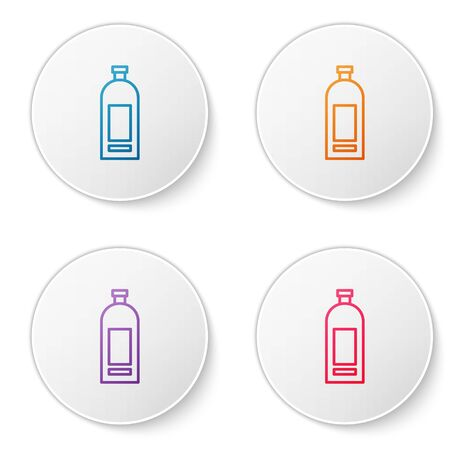 Color line Bottle of shampoo icon isolated on white background. Set icons in circle buttons. Vector Illustration