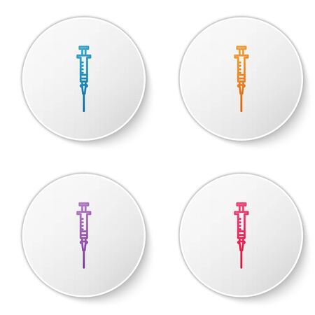 Color line Syringe icon isolated on white background. Syringe for vaccine, vaccination, injection, flu shot. Medical equipment. Set icons in circle buttons. Vector Illustration