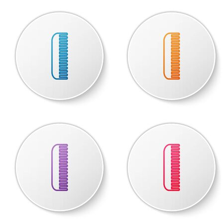 Color line Hairbrush icon isolated on white background. Comb hair sign. Barber symbol. Set icons in circle buttons. Vector Illustration Çizim