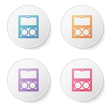 Color line Makeup powder with mirror icon isolated on white background. Set icons in circle buttons. Vector Illustration