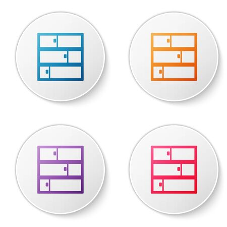 Color line Shelf icon isolated on white background. Shelves sign. Set icons in circle buttons. Vector Illustration