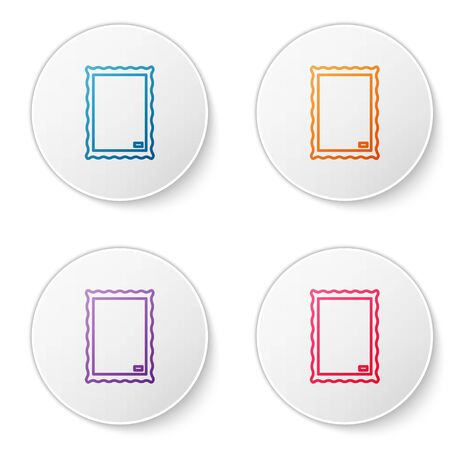 Color line Picture icon isolated on white background. Set icons in circle buttons. Vector Illustration