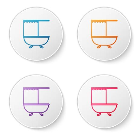 Color line Bathtub with open shower curtain icon isolated on white background. Set icons in circle buttons. Vector Illustration