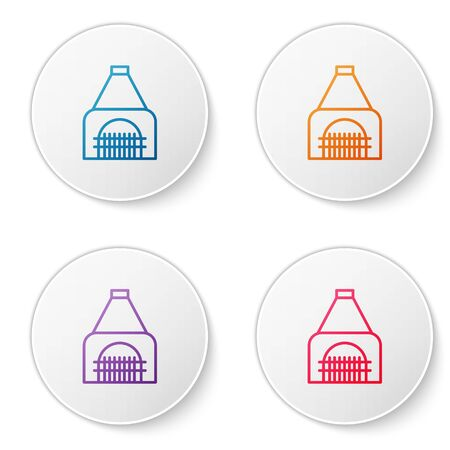 Color line Interior fireplace icon isolated on white background. Set icons in circle buttons. Vector Illustration Banque d'images - 137971033