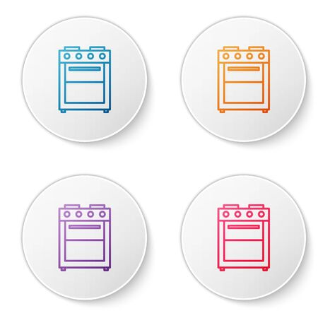 Color line Oven icon isolated on white background. Stove gas oven sign. Set icons in circle buttons. Vector Illustration