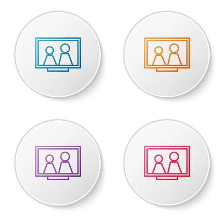 Color line Picture frame on table icon isolated on white background. Set icons in circle buttons. Vector Illustration