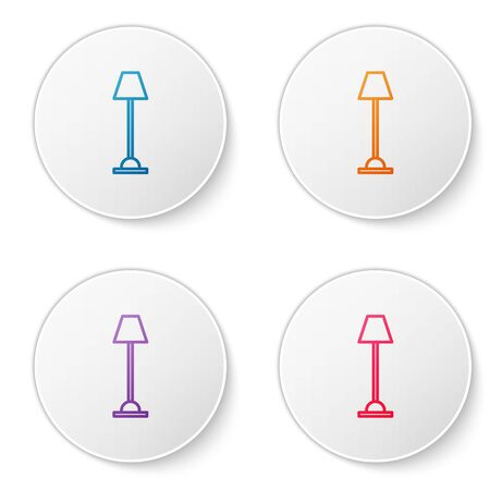 Color line Floor lamp icon isolated on white background. Set icons in circle buttons. Vector Illustration