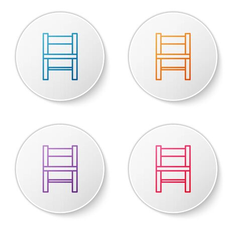 Color line Chair icon isolated on white background. Set icons in circle buttons. Vector Illustration