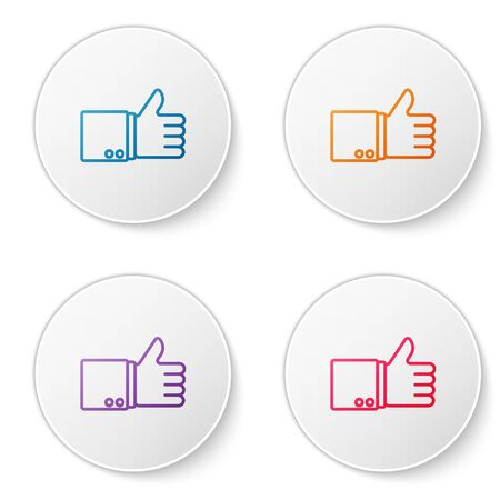 Color line Hand thumb up icon isolated on white background. Set icons in circle buttons. Vector Illustration
