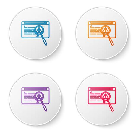 Color line System bug concept icon isolated on white background. Code bug concept. Bug in the system. Bug searching. Set icons in circle buttons. Vector Illustration