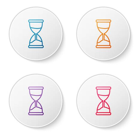 Color line Old hourglass with flowing sand icon isolated on white background. Sand clock sign. Business and time management concept. Set icons in circle buttons. Vector Illustration 向量圖像