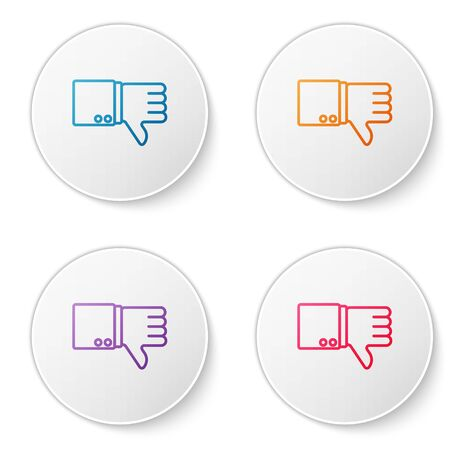 Color line Dislike icon isolated on white background. Set icons in circle buttons. Vector Illustration