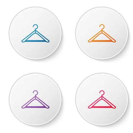 Color line Hanger wardrobe icon isolated on white background. Cloakroom icon. Clothes service symbol. Laundry hanger sign. Set icons in circle buttons. Vector Illustration