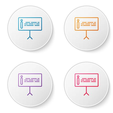 Color line Information icon isolated on white background. Set icons in circle buttons. Vector Illustration