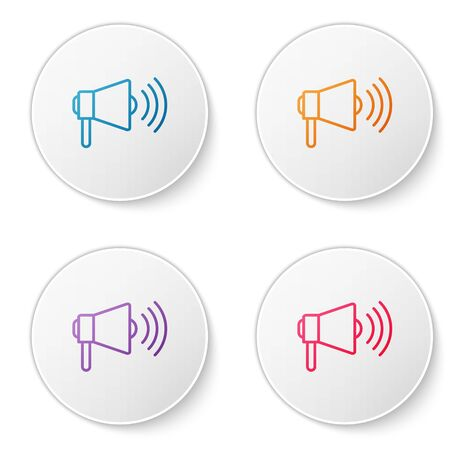 Color line Megaphone icon isolated on white background. Loud speach alert concept. Bullhorn for Mouthpiece scream promotion. Set icons in circle buttons. Vector Illustration