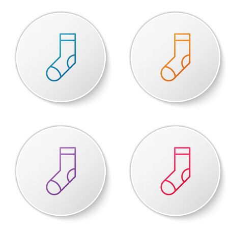 Color line Socks icon isolated on white background. Set icons in circle buttons. Vector Illustration