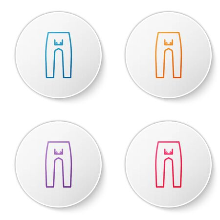 Color line Pants icon isolated on white background. Set icons in circle buttons. Vector Illustration