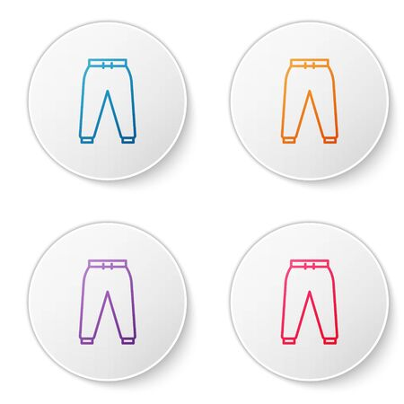 Color line Sport pants icon isolated on white background. Set icons in circle buttons. Vector Illustration Ilustração