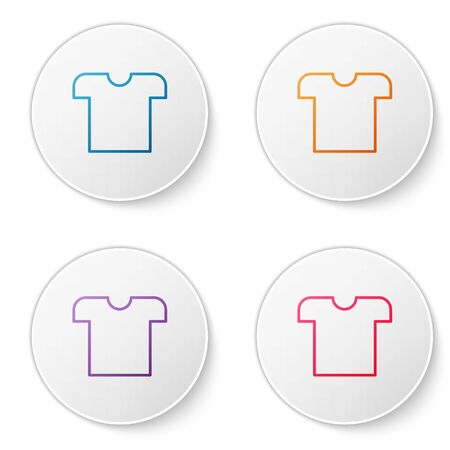 Color line T-shirt icon isolated on white background. Set icons in circle buttons. Vector Illustration