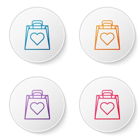 Color line Shopping bag with heart icon isolated on white background. Shopping bag shop love like heart icon. Valentines day symbol. Set icons in circle buttons. Vector Illustration