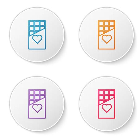 Color line Chocolate bar icon isolated on white background. Valentines day symbol. Set icons in circle buttons. Vector Illustration