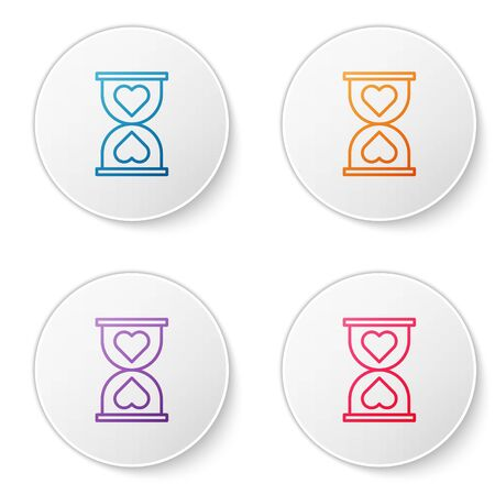 Color line Heart in the center old hourglass icon isolated on white background. Valentines day. Set icons in circle buttons. Vector Illustration