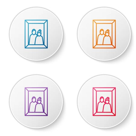 Color line Picture frame on table icon isolated on white background. Valentines Day symbol. Set icons in circle buttons. Vector Illustration