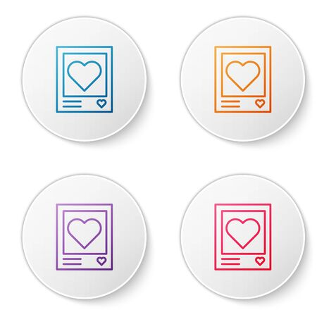 Color line Blanks photo frames and hearts icon isolated on white background. Valentines Day symbol. Set icons in circle buttons. Vector Illustration 向量圖像