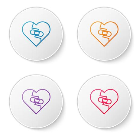 Color line Healed broken heart or divorce icon isolated on white background. Shattered and patched heart. Love symbol. Valentines day. Set icons in circle buttons. Vector Illustration Ilustração