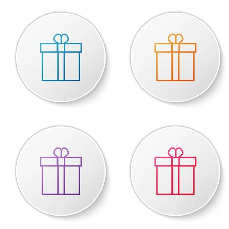 Color line Gift box and heart icon isolated on white background. Valentines day. Set icons in circle buttons. Vector Illustration 向量圖像