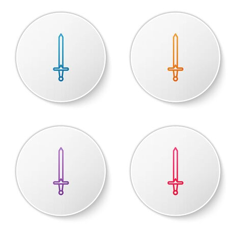 Color line Medieval sword icon isolated on white background. Medieval weapon. Set icons in circle buttons. Vector Illustration  イラスト・ベクター素材