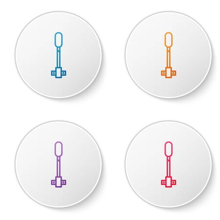 Color line Torch flame icon isolated on white background. Symbol fire hot, flame power, flaming and heat. Set icons in circle buttons. Vector Illustration Illusztráció