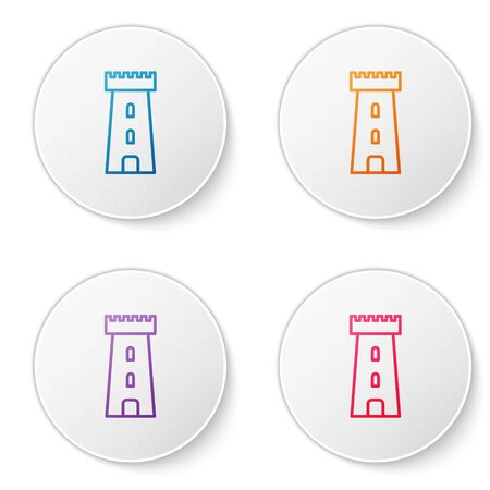 Color line Castle tower icon isolated on white background. Fortress sign. Set icons in circle buttons. Vector Illustration