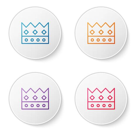 Color line King crown icon isolated on white background. Set icons in circle buttons. Vector Illustration