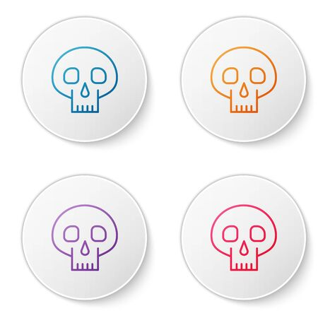 Color line Skull icon isolated on white background. Set icons in circle buttons. Vector Illustration