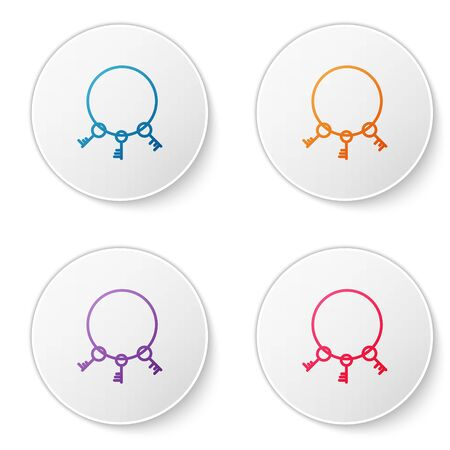 Color line Old keys icon isolated on white background. Set icons in circle buttons. Vector Illustration