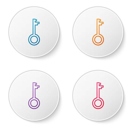 Color line Old key icon isolated on white background. Set icons in circle buttons. Vector Illustration