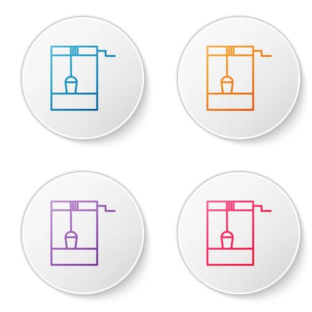 Color line Well with a bucket and drinking water icon isolated on white background. Set icons in circle buttons. Vector Illustration Ilustracja