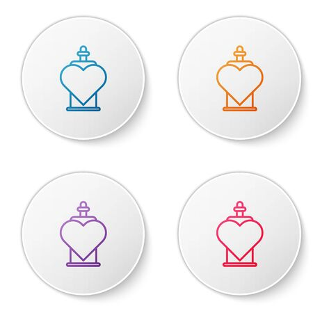 Color line Bottle with love potion icon isolated on white background. Valentines day symbol. Set icons in circle buttons. Vector Illustration Stock Illustratie