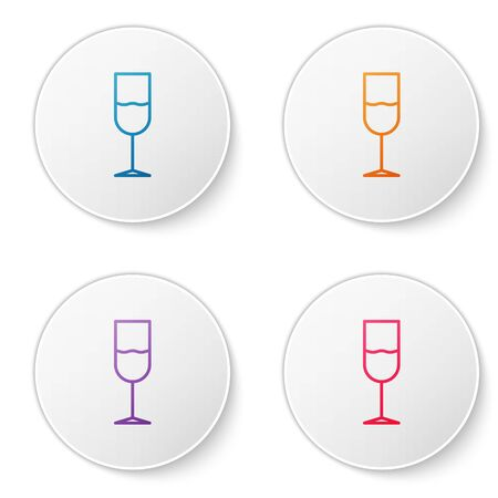 Color line Wine glass icon isolated on white background. Wineglass icon. Goblet symbol. Glassware sign. Set icons in circle buttons. Vector Illustration Ilustracja